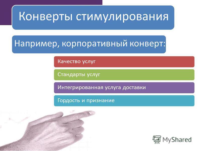 Конверты стимулирования Например, корпоративный конверт: Качество услуг Стандарты услуг Интегрированная услуга доставки Гордость и признание