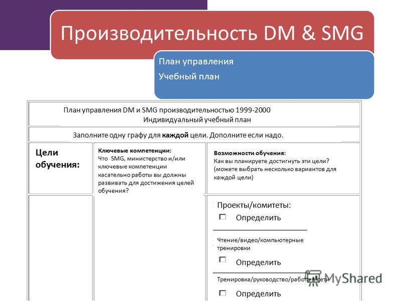 Производительность DM & SMG План управления Учебный план План управления DM и SMG производительностью 1999-2000 Индивидуальный учебный план Заполните одну графу для каждой цели. Дополните если надо. Цели обучения: Ключевые компетенции: Что SMG, минис