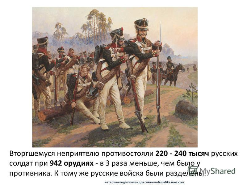 Вторгшемуся неприятелю противостояли 220 - 240 тысяч русских солдат при 942 орудиях - в 3 раза меньше, чем было у противника. К тому же русские войска были разделены. материал подготовлен для сайта matematika.ucoz.com
