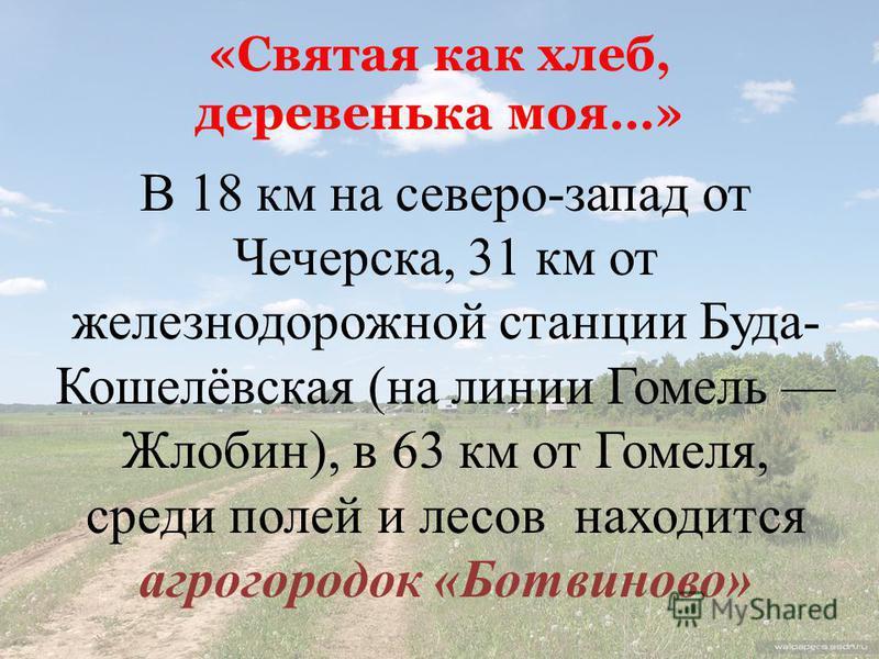 «Святая как хлеб, деревенька моя…» В 18 км на северо-запад от Чечерска, 31 км от железнодорожной станции Буда- Кошелёвская (на линии Гомель Жлобин), в 63 км от Гомеля, среди полей и лесов находится агрогородок «Ботвиново»
