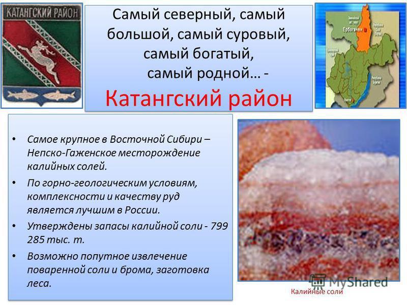 Самый северный, самый большой, самый суровый, самый богатый, самый родной… - Катангский район Самое крупное в Восточной Сибири – Непско-Гаженское месторождение калийных солей. По горно-геологическим условиям, комплексности и качеству руд является луч