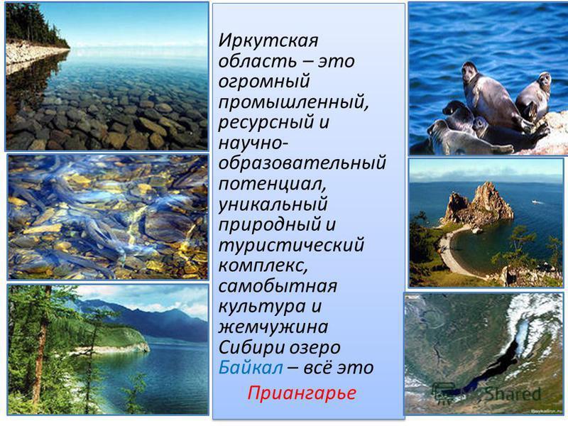 Иркутская область – это огромный промышленный, ресурсный и научно- образовательный потенциал, уникальный природный и туристический комплекс, самобытная культура и жемчужина Сибири озеро Байкал – всё это Приангарье Иркутская область – это огромный про