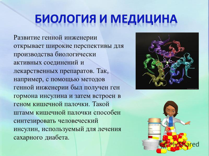 Развитие генной инженерии открывает широкие перспективы для производства биологически активных соединений и лекарственных препаратов. Так, например, с помощью методов генной инженерии был получен ген гормона инсулина и затем встроен в геном кишечной