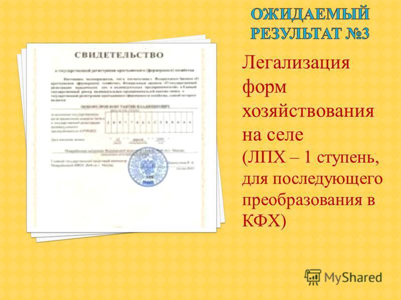 Легализация форм хозяйствования на селе (ЛПХ – 1 ступень, для последующего преобразования в КФХ)