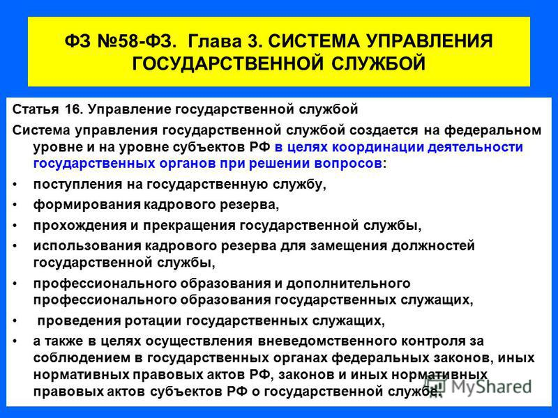 ФЗ 58-ФЗ. Глава 3. СИСТЕМА УПРАВЛЕНИЯ ГОСУДАРСТВЕННОЙ СЛУЖБОЙ Статья 16. Управление государственной службой Система управления государственной службой создается на федеральном уровне и на уровне субъектов РФ в целях координации деятельности государст