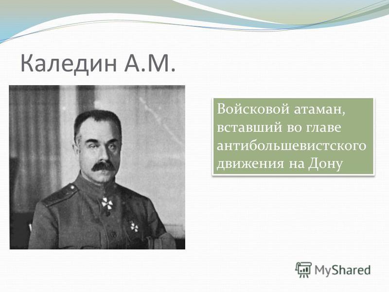 Каледин А.М. Войсковой атаман, вставший во главе антибольшевистского движения на Дону