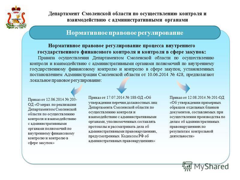 Департамент Смоленской области по осуществлению контроля и взаимодействию с административными органами Нормативное правовое регулирование Нормативное правовое регулирование процесса внутреннего государственного финансового контроля и контроля в сфере