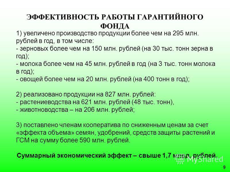 9 ЭФФЕКТИВНОСТЬ РАБОТЫ ГАРАНТИЙНОГО ФОНДА 1) увеличено производство продукции более чем на 295 млн. рублей в год, в том числе: - зерновых более чем на 150 млн. рублей (на 30 тыс. тонн зерна в год); - молока более чем на 45 млн. рублей в год (на 3 тыс