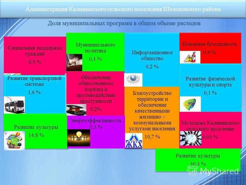 Администрация Калининского сельского поселения Шолоховского района Доля муниципальных программ в общем объеме расходов Социальная поддержка граждан 0,5 % Развитие транспортной системы 1,6 % Развитие культуры 14,8 % Развитие культуры 14,8 % Муниципаль