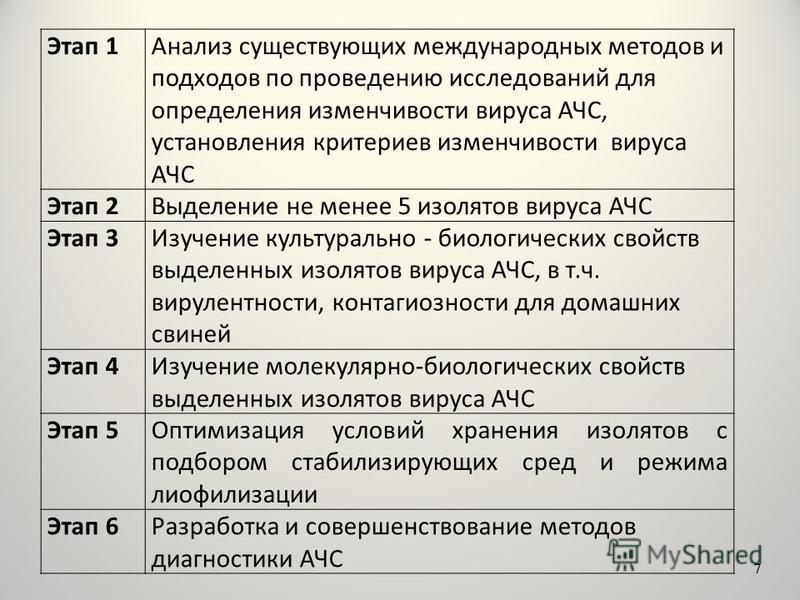 Этап 1Анализ существующих международных методов и подходов по проведению исследований для определения изменчивости вируса АЧС, установления критериев изменчивости вируса АЧС Этап 2Выделение не менее 5 изолятов вируса АЧС Этап 3Изучение культурально -