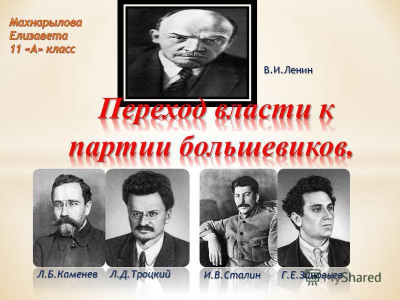 В.И.Ленин Г.Е.ЗиновьевИ.В.Сталин Л.Д.ТроцкийЛ.Б.Каменев