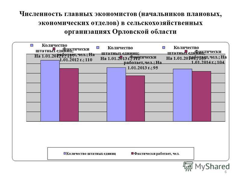 Численность главных экономистов (начальников плановых, экономических отделов) в сельскохозяйственных организациях Орловской области 6