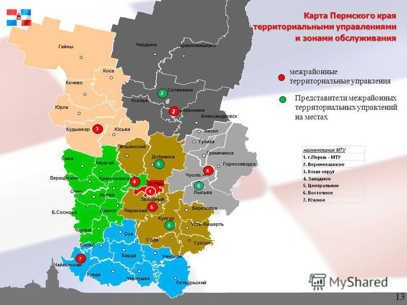 межрайонные территориальные управления Карта Пермского края с территориальными управлениями и зонами обслуживания Представители межрайонных территориальных управлений на местах 13 6
