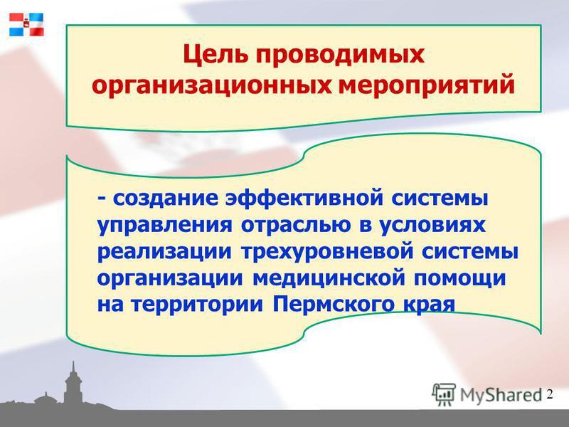 Цель проводимых организационных мероприятий - создание эффективной системы управления отраслью в условиях реализации трехуровневой системы организации медицинской помощи на территории Пермского края 2