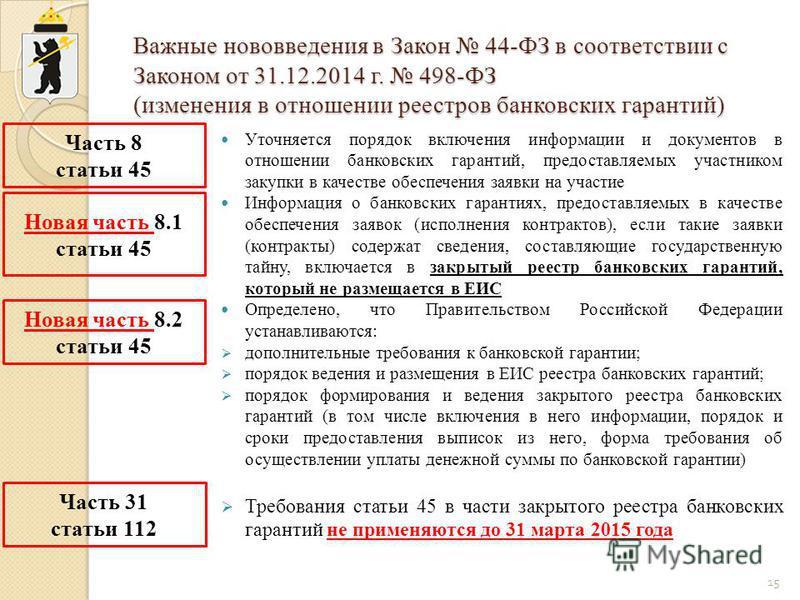 Важные нововведения в Закон 44-ФЗ в соответствии с Законом от 31.12.2014 г. 498-ФЗ (изменения в отношении реестров банковских гарантий) Уточняется порядок включения информации и документов в отношении банковских гарантий, предоставляемых участником з
