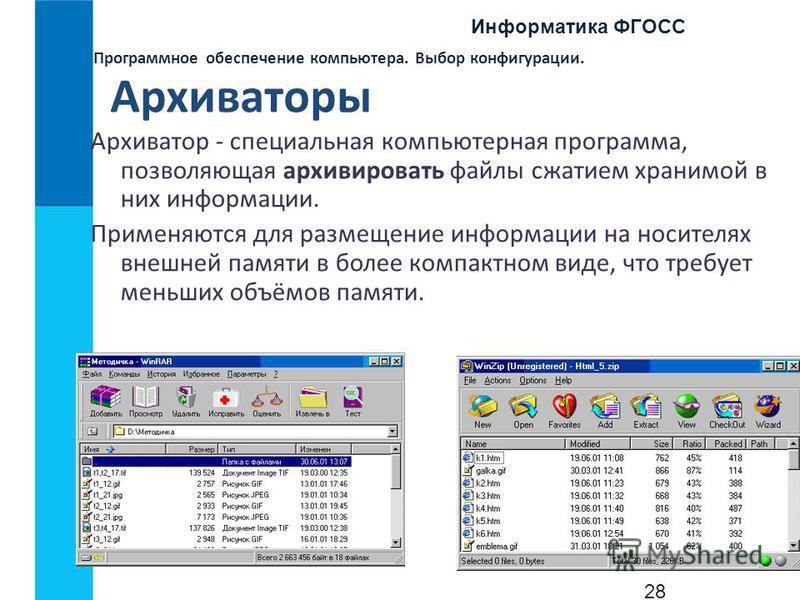 Информатика ФГОСС 28 Программное обеспечение компьютера. Выбор конфигурации. Архиваторы Архиватор - специальная компьютерная программа, позволяющая архивировать файлы сжатием хранимой в них информации. Применяются для размещение информации на носител