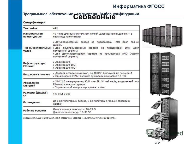 Информатика ФГОСС 59 Программное обеспечение компьютера. Выбор конфигурации. Серверные кластеры