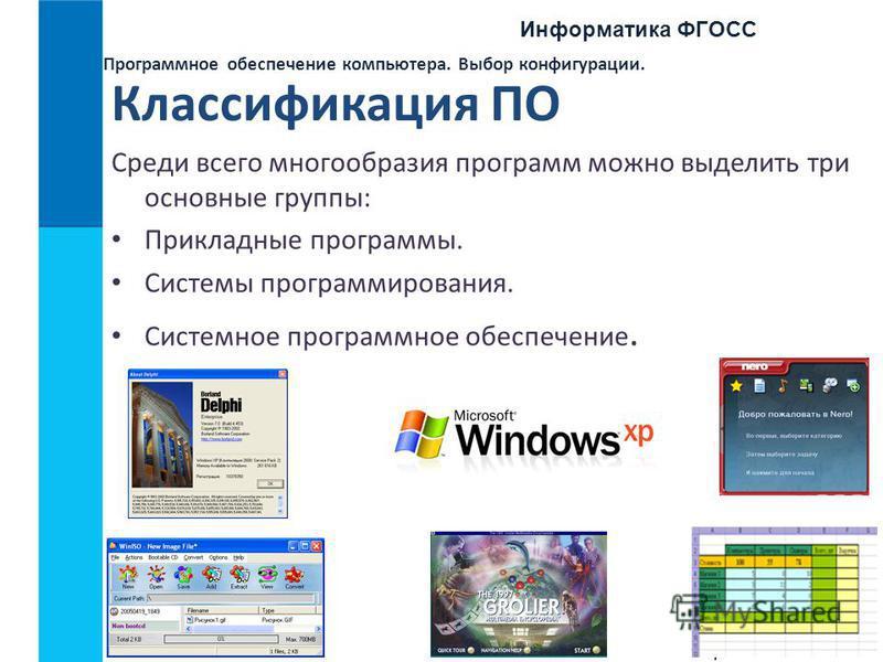 Информатика ФГОСС 7 Программное обеспечение компьютера. Выбор конфигурации. Классификация ПО Среди всего многообразия программ можно выделить три основные группы: Прикладные программы. Системы программирования. Системное программное обеспечение.
