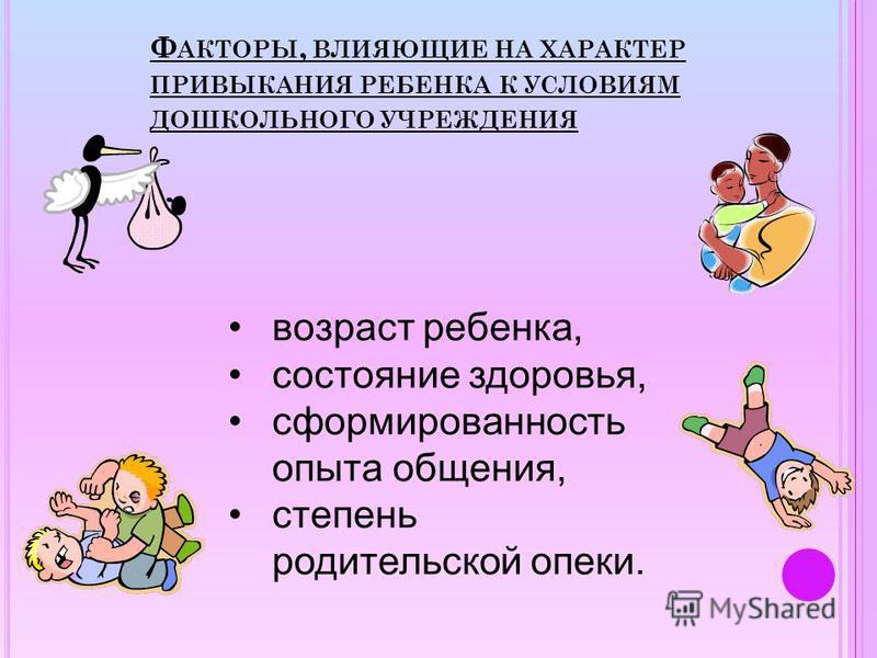 Ф АКТОРЫ, ВЛИЯЮЩИЕ НА ХАРАКТЕР ПРИВЫКАНИЯ РЕБЕНКА К УСЛОВИЯМ ДОШКОЛЬНОГО УЧРЕЖДЕНИЯ возраст ребенка, состояние здоровья, сформированность опыта общения, степень родительской опеки.