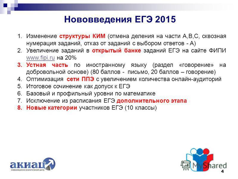 Нововведения ЕГЭ 2015 4 1. Изменение структуры КИМ (отмена деления на части А,В,С, сквозная нумерация заданий, отказ от заданий с выбором ответов - А) 2. Увеличение заданий в открытый банке заданий ЕГЭ на сайте ФИПИ www.fipi.ru на 20% www.fipi.ru 3.