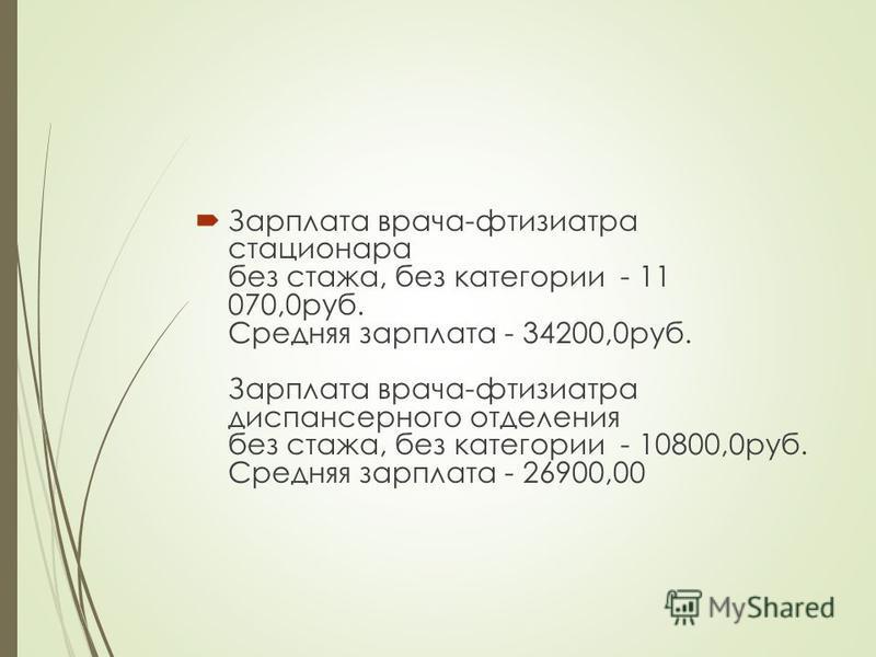 Зарплата врача-фтизиатра стационара без стажа, без категории - 11 070,0 руб. Средняя зарплата - 34200,0 руб. Зарплата врача-фтизиатра диспансерного отделения без стажа, без категории - 10800,0 руб. Средняя зарплата - 26900,00
