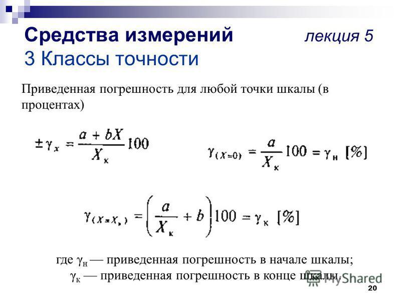 20 Средства измерений лекция 5 3 Классы точности Приведенная погрешность для любой точки шкалы (в процентах) где γ н приведенная погрешность в начале шкалы; γ к приведенная погрешность в конце шкалы.