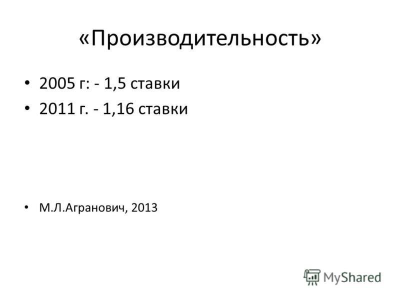 «Производительность» 2005 г: - 1,5 ставки 2011 г. - 1,16 ставки М.Л.Агранович, 2013