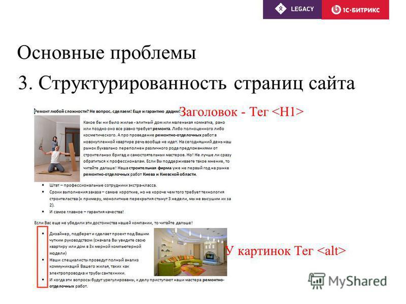 Основные проблемы 3. Структурированность страниц сайта Заголовок - Тег У картинок Тег