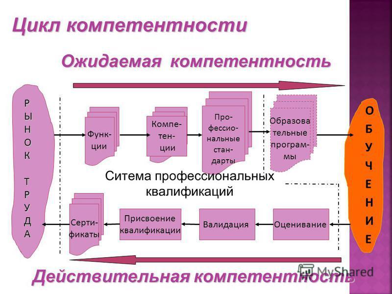 Функ- ции Про- фессио- нальные стандарты Оценивание Валидация Присвоение квалификации Серти- фикаты РЫНОКРЫНОКТРУДАТРУДАРЫНОКРЫНОКТРУДАТРУДА Компе- тен- ции Ожидаемая компетентность Действительная компетентность Ситема профессиоанальных квалификаций
