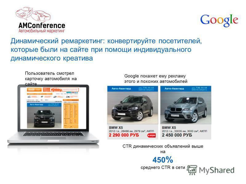Динамический ремаркетинг: конвертируйте посетителей, которые были на сайте при помощи индивидуального динамического креатива Пользователь смотрел карточку автомобиля на сайте Google покажет ему рекламу этого и похожих автомобилей CTR динамических объ