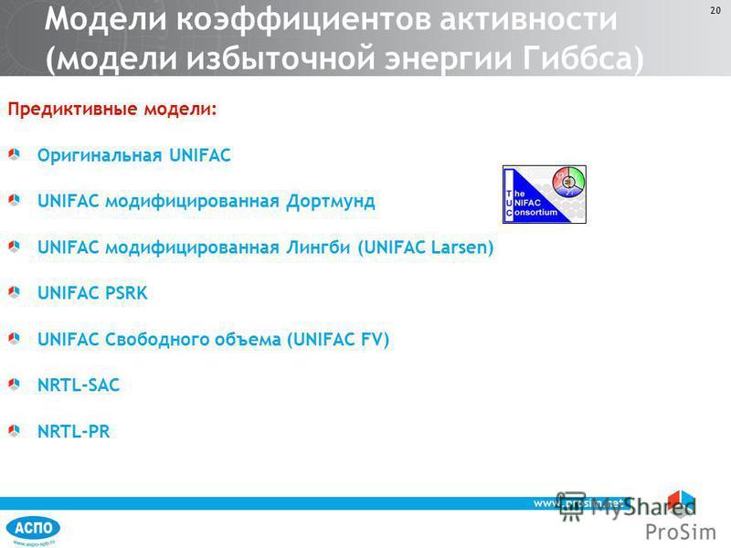 www.prosim.net 20 Предиктивные модели: Оригинальная UNIFAC UNIFAC модифицированная Дортмунд UNIFAC модифицированная Лингби (UNIFAC Larsen) UNIFAC PSRK UNIFAC Свободного объема (UNIFAC FV) NRTL-SAC NRTL-PR Модели коэффициентов активности (модели избыт