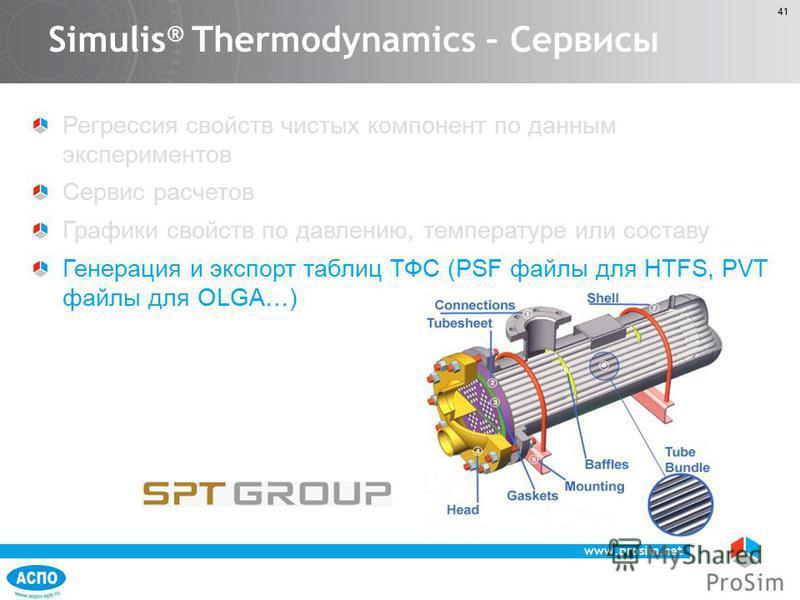 www.prosim.net 41 Регрессия свойств чистых компонент по данным экспериментов Сервис расчетов Графики свойств по давлению, температуре или составу Генерация и экспорт таблиц ТФС (PSF файлы для HTFS, PVT файлы для OLGA…) Simulis ® Thermodynamics – Серв