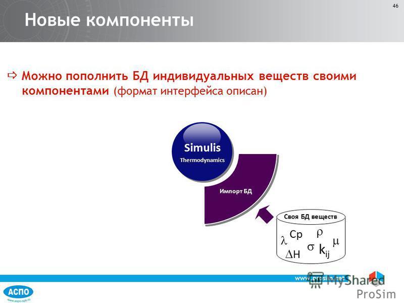 www.prosim.net 46 Можно пополнить БД индивидуальных веществ своими компонентами (формат интерфейса описан) Новые компоненты Simulis Thermodynamics H Cp k ij Своя БД веществ Импорт БД
