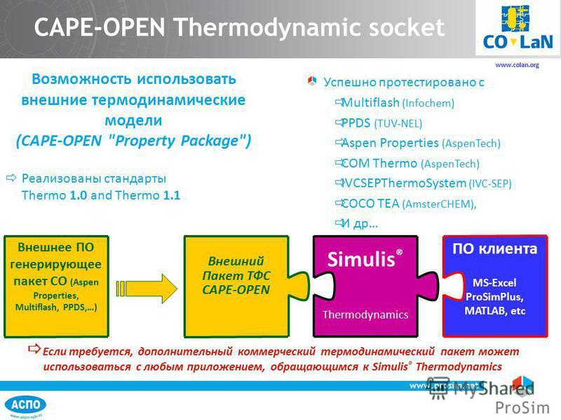 www.prosim.net 48 Успешно протестировано с Multiflash (Infochem) PPDS (TUV-NEL) Aspen Properties (AspenTech) COM Thermo (AspenTech) IVCSEPThermoSystem (IVC-SEP) COCO TEA (AmsterCHEM), И др… Возможность использовать внешние термодинамические модели (C