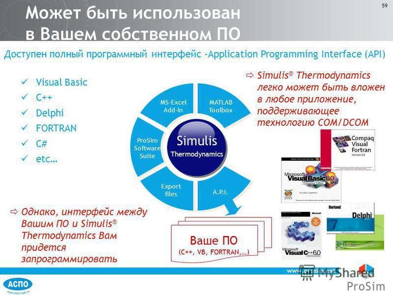 www.prosim.net 59 Может быть использован в Вашем собственном ПО ProSim Software Suite MS-Excel Add-In MATLAB Toolbox Visual Basic C++ Delphi FORTRAN C# etc… Simulis ® Thermodynamics легко может быть вложен в любое приложение, поддерживающее технологи