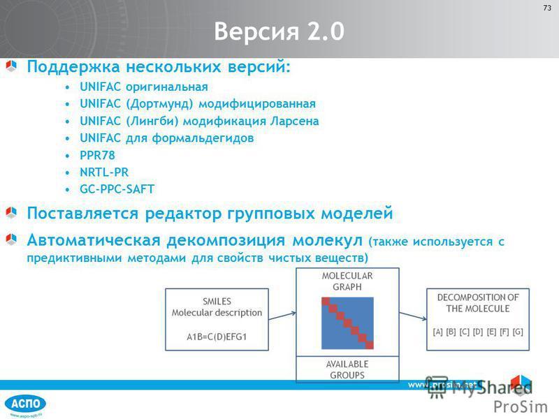 www.prosim.net 73 Поддержка нескольких версий: UNIFAC оригинальная UNIFAC (Дортмунд) модифицированная UNIFAC (Лингби) модификация Ларсена UNIFAC для формальдегидов PPR78 NRTL-PR GC-PPC-SAFT Поставляется редактор групповых моделей Автоматическая деком