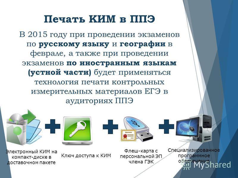 Печать КИМ в ППЭ В 2015 году при проведении экзаменов по русскому языку и географии в феврале, а также при проведении экзаменов по иностранным языкам (устной части) будет применяться технология печати контрольных измерительных материалов ЕГЭ в аудито