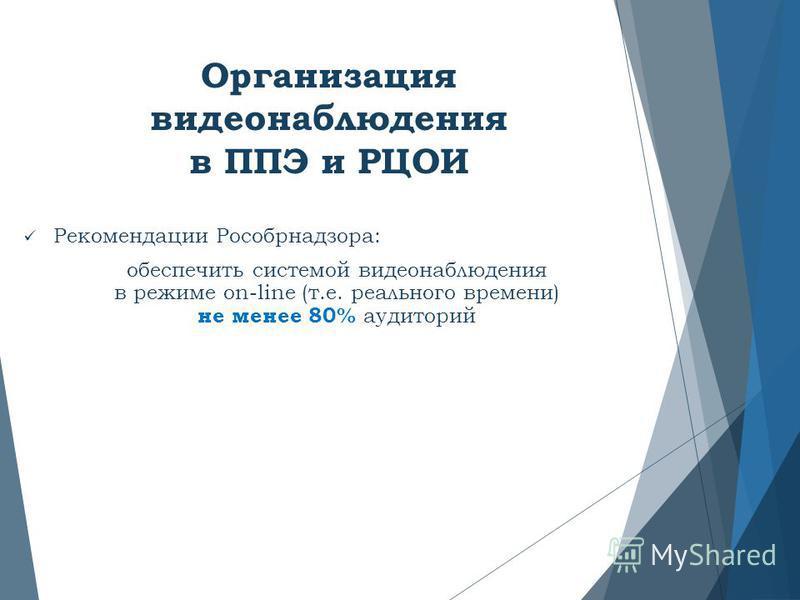 Организация видеонаблюдения в ППЭ и РЦОИ Рекомендации Рособрнадзора: обеспечить системой видеонаблюдения в режиме on-line (т.е. реального времени) не менее 80% аудиторий