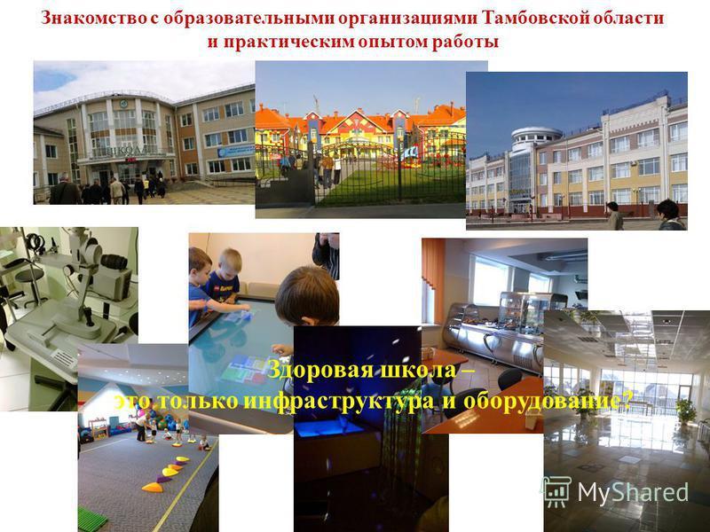 Знакомство с образовательными организациями Тамбовской области и практическим опытом работы Здоровая школа – это только инфраструктура и оборудование?