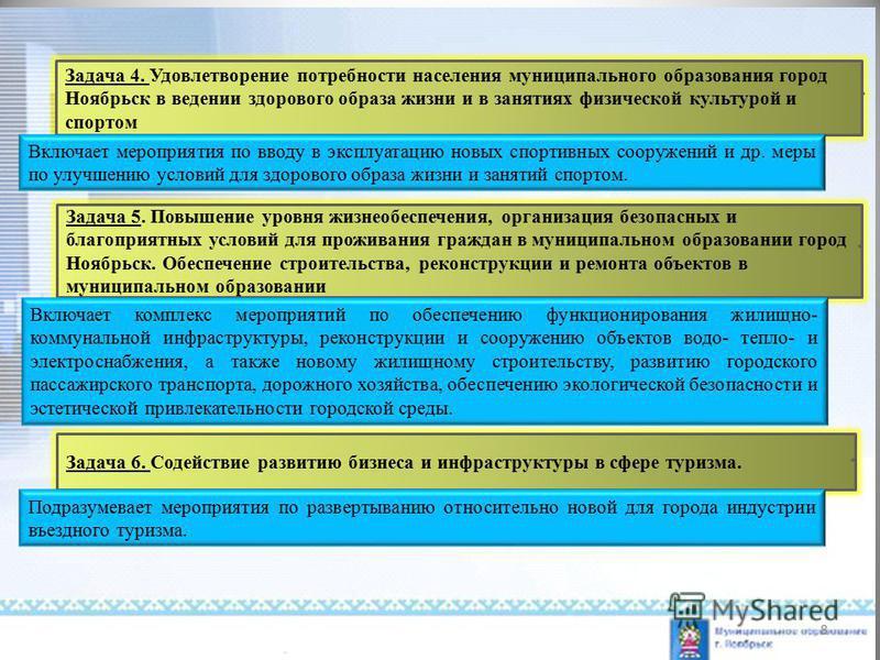 Задача 4. Удовлетворение потребности населения муниципального образования город Ноябрьск в ведении здорового образа жизни и в занятиях физической культурой и спортом Задача 5. Повышение уровня жизнеобеспечения, организация безопасных и благоприятных