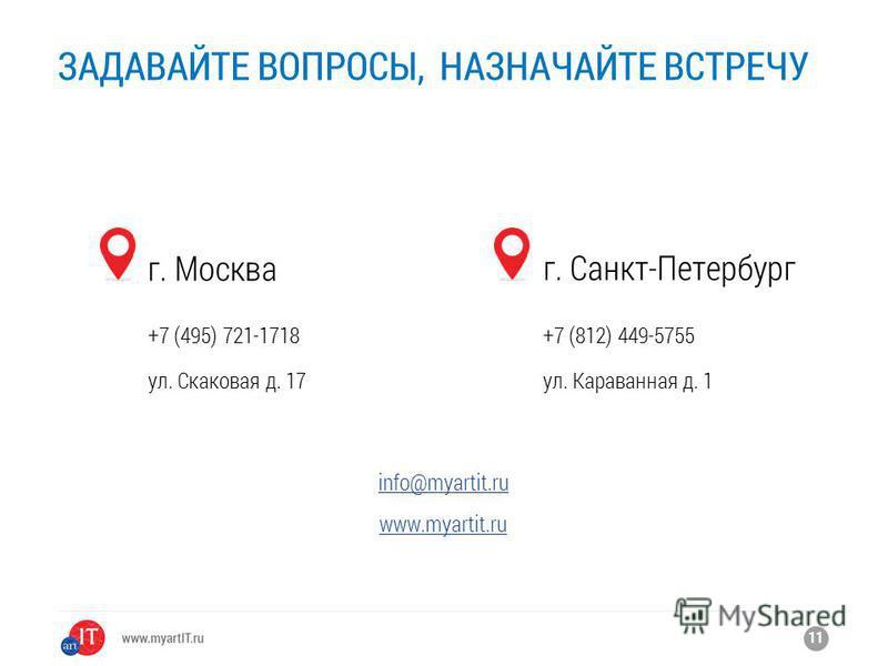 ЗАДАВАЙТЕ ВОПРОСЫ, НАЗНАЧАЙТЕ ВСТРЕЧУ 11 г. Москва +7 (495) 721-1718 ул. Скаковая д. 17 г. Санкт-Петербург +7 (812) 449-5755 ул. Караванная д. 1 info@myartit.ru www.myartit.ru