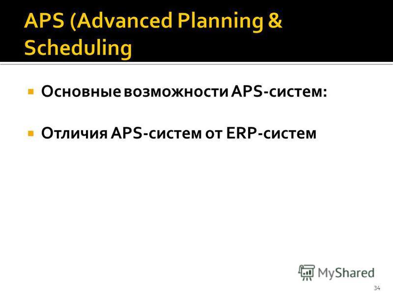 Основные возможности APS-систем: Отличия APS-систем от ERP-систем 34