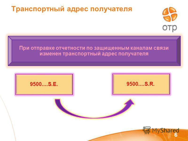 Транспортный адрес получателя 6 9500....S.E. 9500....S.R. При отправке отчетности по защищенным каналам связи изменен транспортный адрес получателя