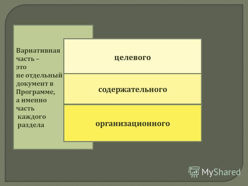 Вариативная часть – это не отдельный документ в Программе, а именно часть каждого раздела целевого содержательного организационного