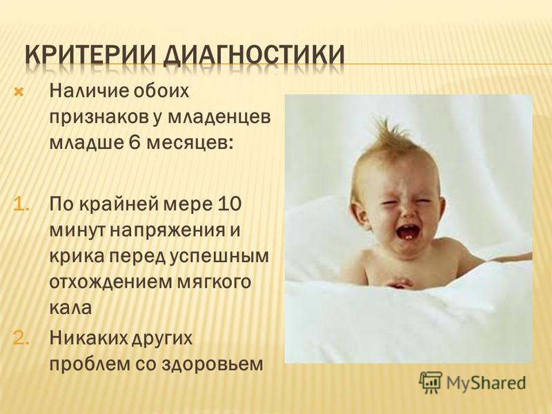 Наличие обоих признаков у младенцев младше 6 месяцев: 1. По крайней мере 10 минут напряжения и крика перед успешным отхождением мягкого кала 2. Никаких других проблем со здоровьем