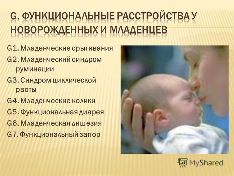 G1. Младенческие срыгивания G2. Младенческий синдром руминации G3. Синдром циклической рвоты G4. Младенческие колики G5. Функциональная диарея G6. Младенческая дишезия G7. Функциональный запор