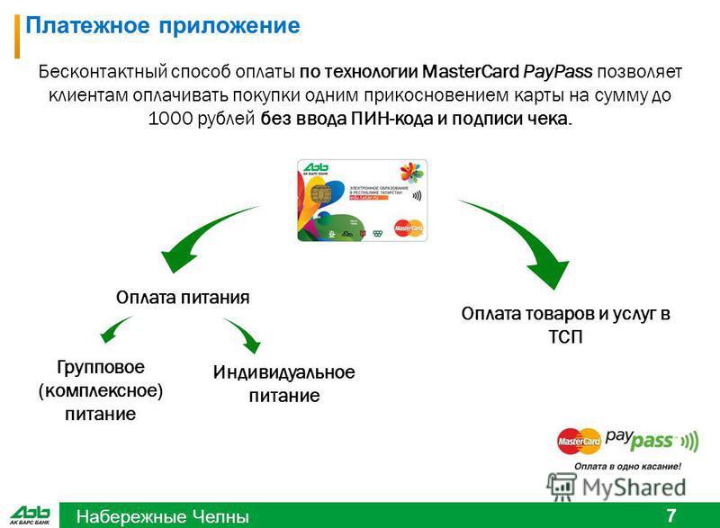 Набережные Челны 7 Платежное приложение Оплата питания Групповое (комплексное) питание Индивидуальное питание Оплата товаров и услуг в ТСП Бесконтактный способ оплаты по технологии MasterCard PayPass позволяет клиентам оплачивать покупки одним прикос