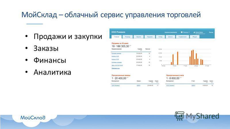 Мой Склад – облачный сервис управления торговлей Продажи и закупки Заказы Финансы Аналитика