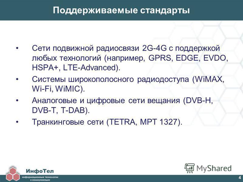 Поддерживаемые стандарты Сети подвижной радиосвязи 2G-4G с поддержкой любых технологий (например, GPRS, EDGE, EVDO, HSPA+, LTE-Advanced). Системы широкополосного радиодоступа (WiMAX, Wi-Fi, WiMIC). Аналоговые и цифровые сети вещания (DVB-H, DVB-T, T-