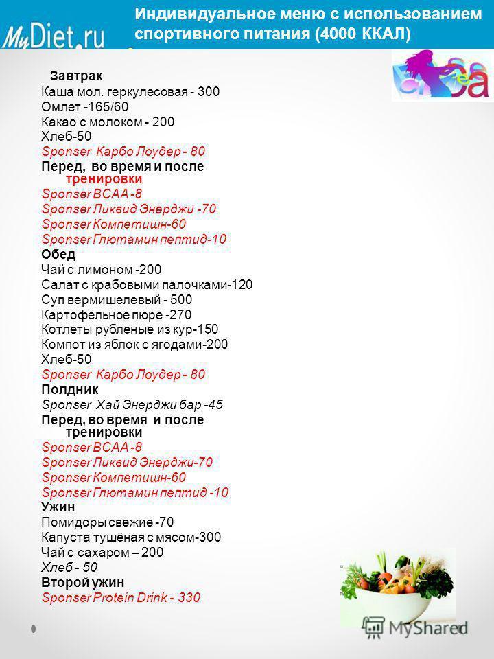 Завтрак Каша мол. геркулесовая - 300 Омлет -165/60 Какао с молоком - 200 Хлеб-50 Sponser Карбо Лоудер - 80 Перед, во время и после тренировки Sponser BCAA -8 Sponser Ликвид Энерджи -70 Sponser Компетишн-60 Sponser Глютамин пептид-10 Обед Чай с лимоно